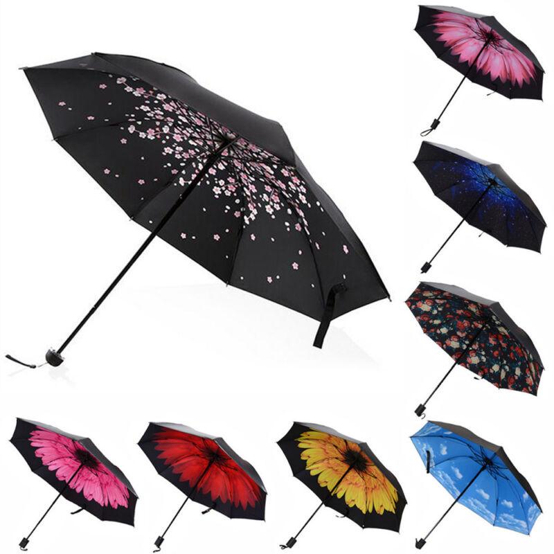 Windproof Umbrella Anti-UV Sun/Rain Lightweight Compact Folding Princess Parasol