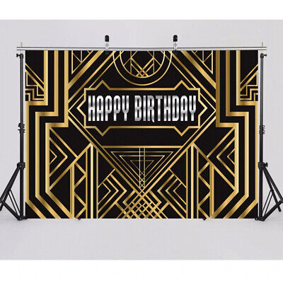 Great Gatsby Party Decorations Black Gold Birthday Party Photo Booth Backdrop