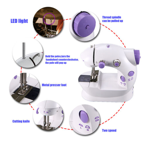 Portable Desktop Mini Electric Sewing Machine Hand Held Household Tailor 2  Speed | eBay