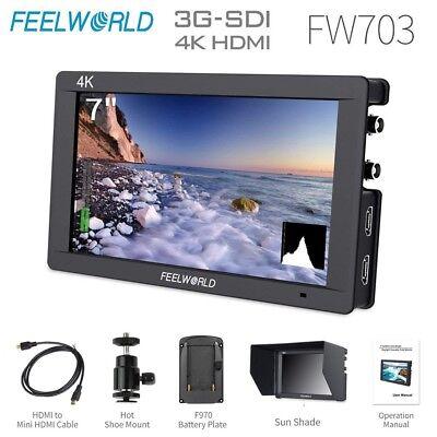 "FEELWORLD FW703 7"" IPS 3G SDI 4K HDMI On Camera Field Monitor Full HD 1920x1200"