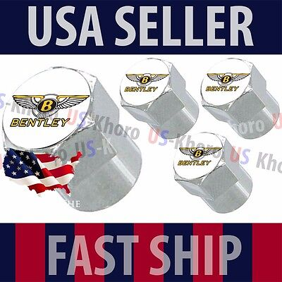 Bentley Gold Logo Valves Stems Caps Covers Chrome Wheel Roundel Tire Emblem USA