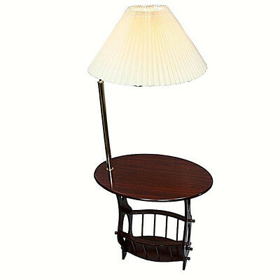 Magazine accent table brass arm lamp in Cherry finish 52