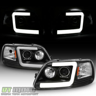 Blk 1997-2003 Ford F150 97-02 Expedition LED Tube Projector Headlights Headlamps