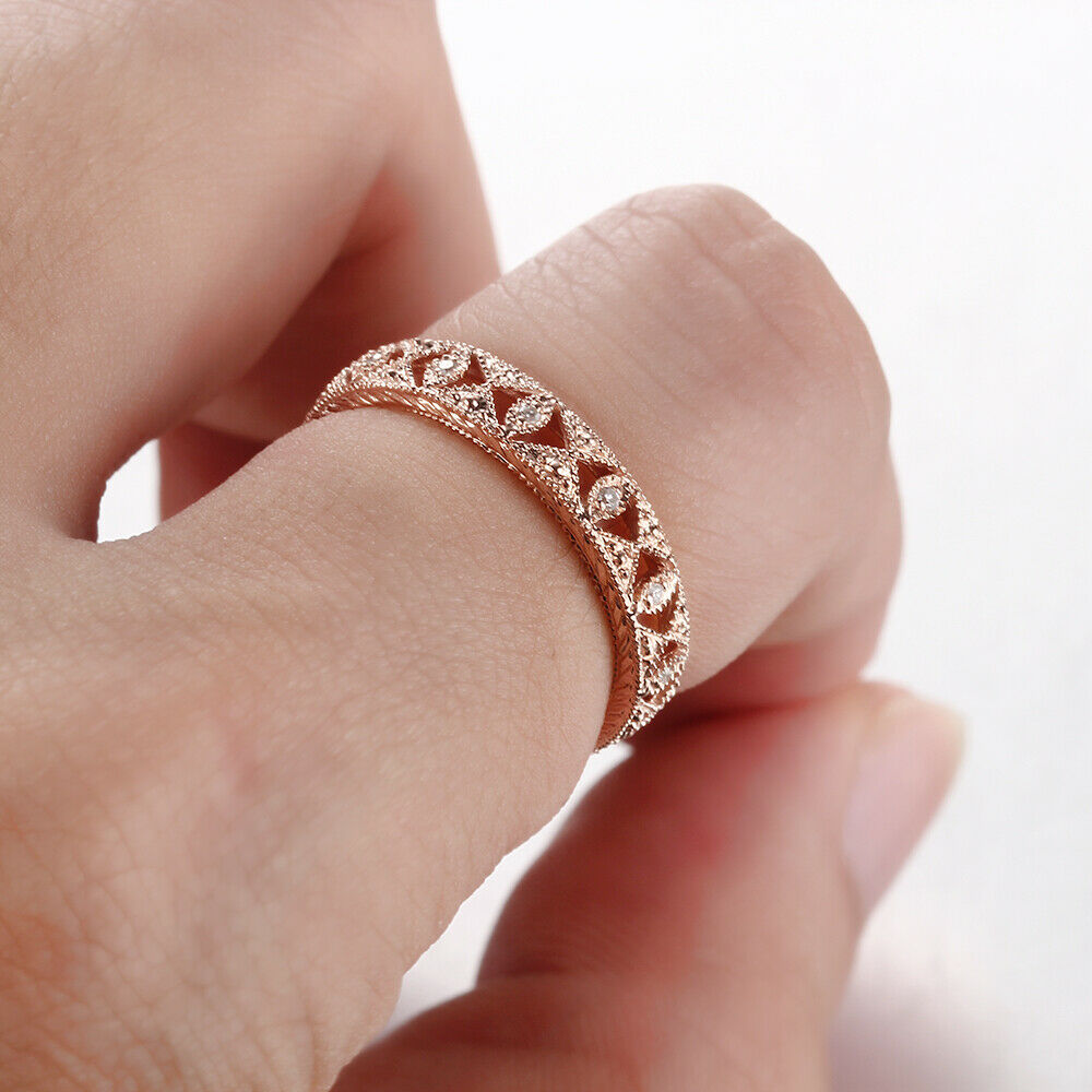 10K Rose Gold Pave Natural Diamond Vintage & Antique Milgrain ...