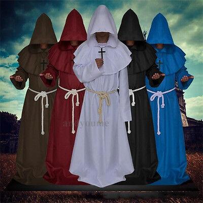 Mönch mittelalterlichen Priester Kostüm mit Kapuze Kleru Robe Religion - Priester Roben Kostüm