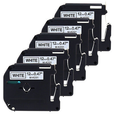 5pack Mk231 Compatible For Brother P-touch 12mm Label Blackwhite M Tape M-k231