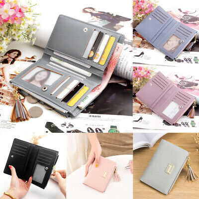 Women Short Small Money Purse Wallet Ladies Leather Folding Coin Card Holder