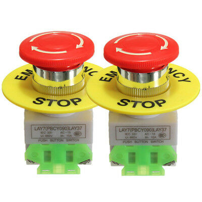 2 Pack Red Mushroom Emergency Stop Push Button Switch No Nc 22mm 10a In Usa