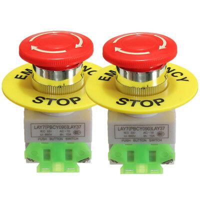 2x Red Mushroom Emergency Stop Push Button Switch No Nc 22mm 10a Self-locking