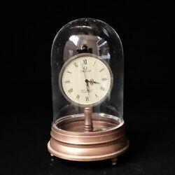 European Exquisite Brass &Glass Classical Mechanical Clock Art Deco