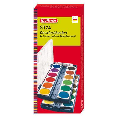 Herlitz Deckfarbkasten 24 Farben Wasserfarben Schulmalfarben water colour set