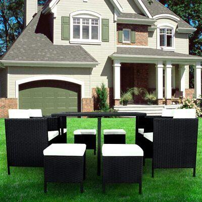 Garden Furniture - 9Pcs Rattan Garden Corner Sofa Table Chair Furniture Set Consevatory Outdoor UK