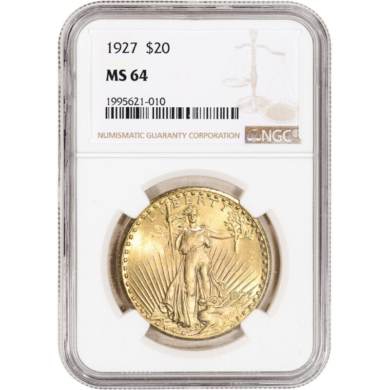 1927 US Gold $20 Saint-Gaudens Double Eagle - NGC MS64