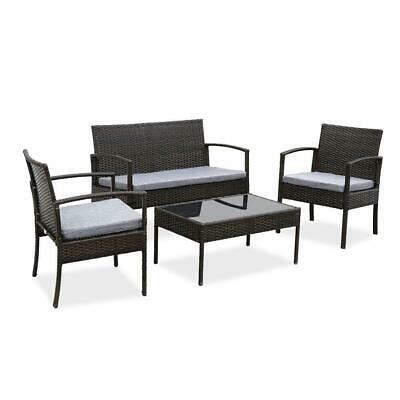 4PC In/Outdoor Patio Lawn Sofa Set Rattan Wicker Furniture T
