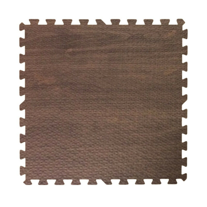 96 ft walnut dark wood grain interlocking foam puzzle tiles mat puzzle flooring