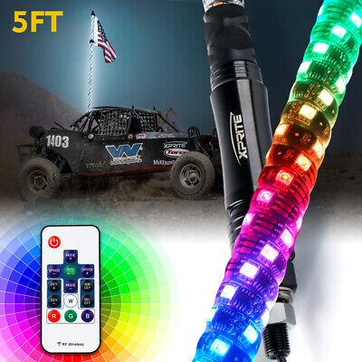 Xprite 5FT UTV ATV Spiral LED Whip Light Dancing Chase Light w/ Flag Pole Remote