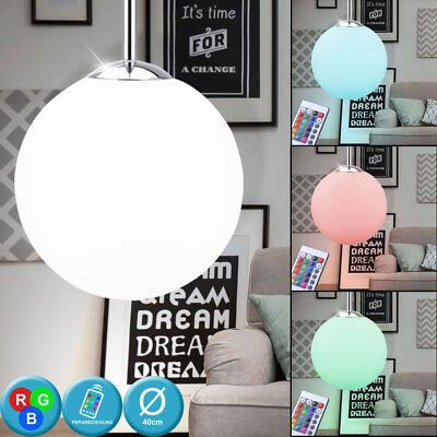 RGB LED Decken Pendel Lampe Ess Zimmer Glas Hänge Leuchte Dimmer FERNBEDIENUNG