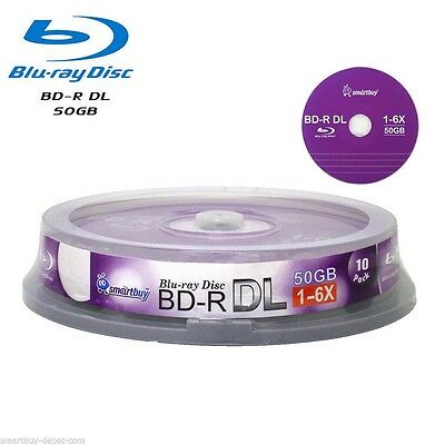 10 Pack Smartbuy Blu-ray BD-R BDR DL Dual Layer 6X 50GB Logo Top Recordable Disc