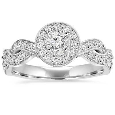 3/4 Ct Vintage Diamond Infinity Halo Crossover Engagement Ring 14K White