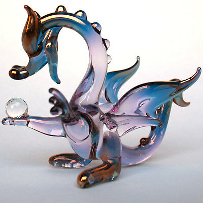 Dragon Purple Pink Gold Figurine of Blown Glass Crystal