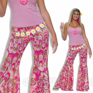 WOMENS HIPPY FLOWER POWER TROUSERS FANCY DRESS HIPPIE 60s 70s FLARES LADIES PINK