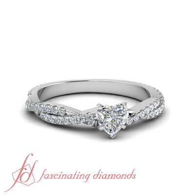 White Gold Heart Shape Diamond Intertwined Engagement Rings Pave Set GIA 1.25 Ct
