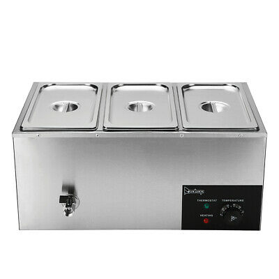 Zokop 3 Pan Commercial Bain Marie Food Warmer Electric Steam Table 6.9qt6.5l