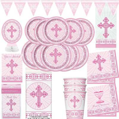 Communion Tableware (Girls 1st First Holy Communion Party Tableware Decorations Royal Pink)