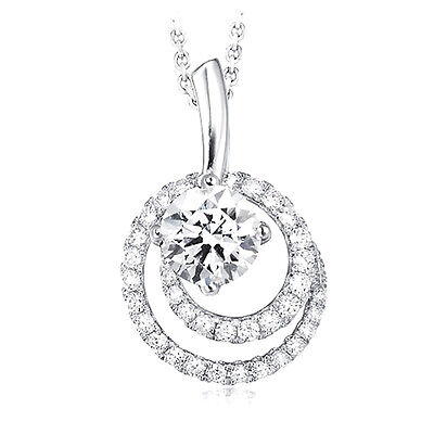 Sterling Silver 925 CZ Women's Round Graduated Circle Fashion Pendant Necklace