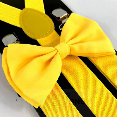 Suspender and Bow Tie Adults Men Yellow Formal Wear Adjustable Accessories - Yellow Bow Tie And Suspenders