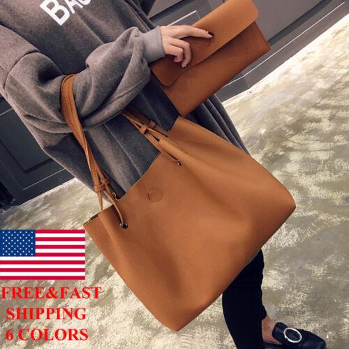 Women Pu Leather Top Handle Satchel Handbags Shoulder Bag To