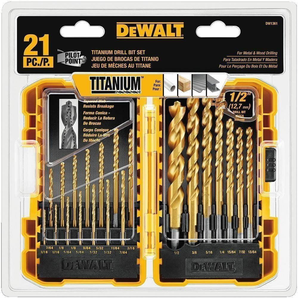 DEWALT DW1361 Titanium Pilot Point Drill Bit Set, 21 Piece