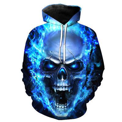Men Wome Punk Rock Skull Head 3D Graphic Print Hoodie Sweatshirt Pullover Coat