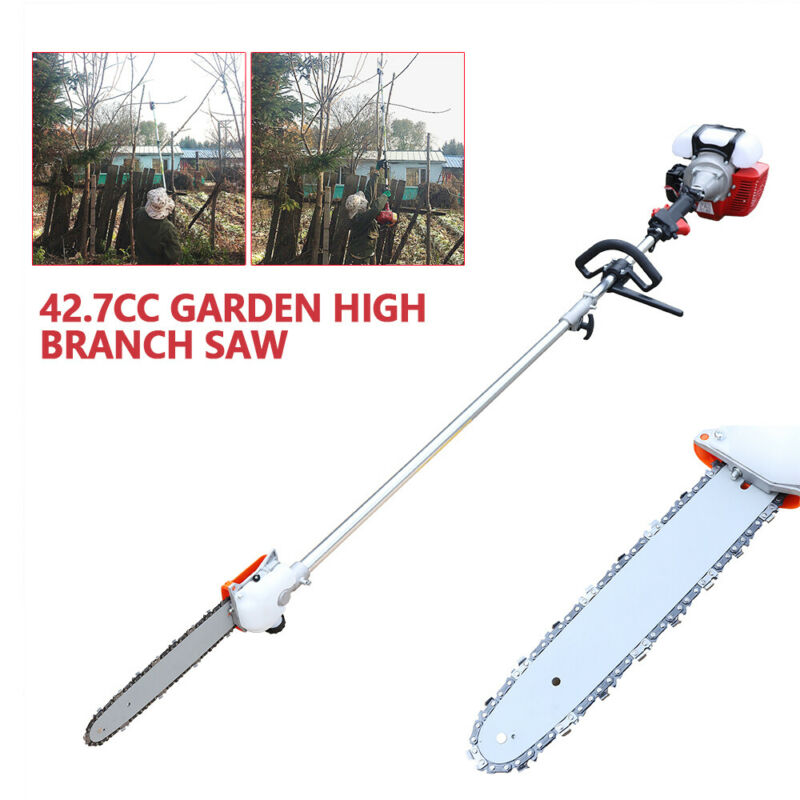 "Pole Saw Gas Powered Pruner Reach 2 Stroke + Extension Chain Oiler 12"" Blade"