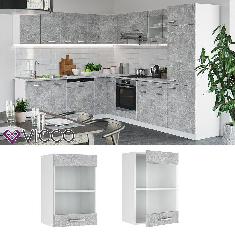 VICCO Küchenschrank Hängeschrank Unterschrank Küchenzeile R-Line Hängeglasschrank 40 cm beton