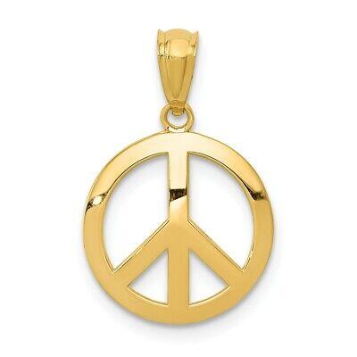 14K Polished Peace Sign Circle Pendant New Charm Yellow Gold Yellow Gold Peace Sign