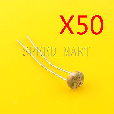 50 Pcs Photoresistor Ldr Cds 5mm Light-dependent Resistor Sensor Gl5516 Arduino