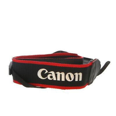 """Canon EOS 70D"" Neck Strap 1.5"" Wide Black/Red Edge Stitched Silver - EX"