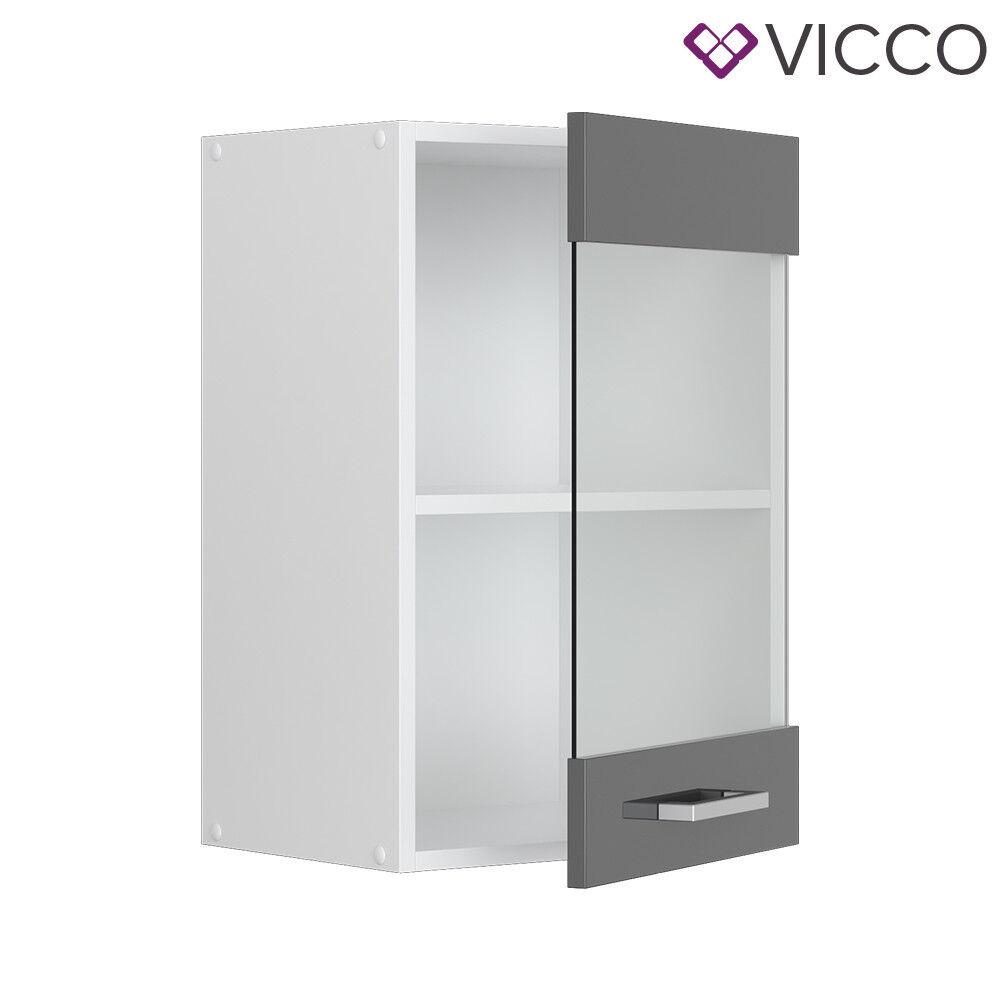 VICCO Küchenschrank Hängeschrank Unterschrank Küchenzeile R-Line Hängeglasschrank 40 cm anthrazit