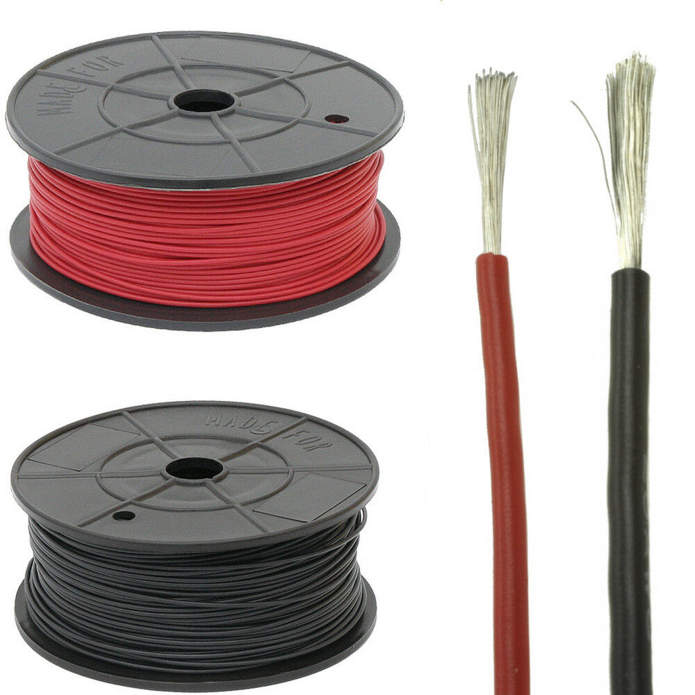 Flexible Silicone Wire Cable 10/12/14/16/18/20/22/24 AWG Soft Red Black Colours