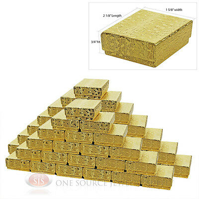 50 Gold Foil Cotton Filled Jewelry Gift Boxes 2 18 X 1 58 Pendant Charm Box
