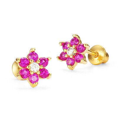 14k Gold Plated July Flower Children Screwback Baby Girls Earrings