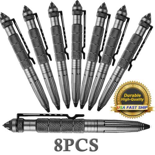 "8Pcs 6""Aluminum Tactical Pens Glass Breaker Writing Survival"