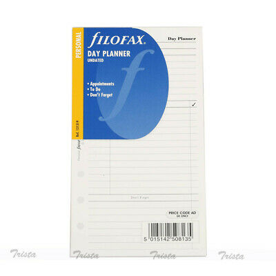 Filofax Personal Size Undated Day Planner Diary Notepaper Refill Insert -131319