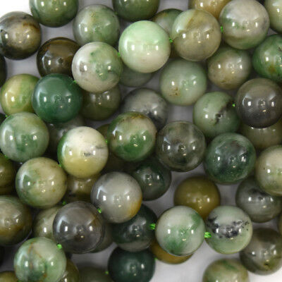 Green Jade Round Beads (Green African Jade Round Beads Gemstone 15.5
