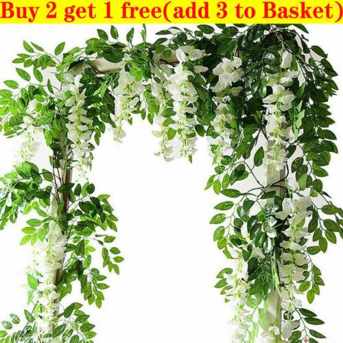 Home Decoration - 7FT Artificial Wisteria Vine Garland Plant Foliage Trailing Flower Home Decor Iv