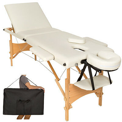Mobile Massageliege Massagetisch Massagebank 3 Zonen klappbar beige mit Tasche N