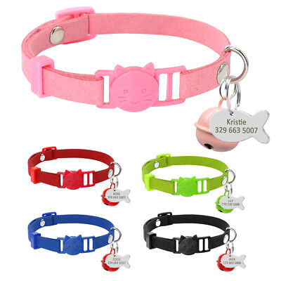 Suede Puppy Dog Cat Breakaway Collar & Tag Engraved Safety Quick Release &Bell ()