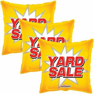 3 pc Yellow Yard Sale Starburst Square Store Promotional Foil Balloon Re-Usable - Balloon Stores