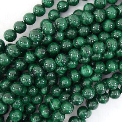 Natural Green Malachite Round Beads Gemstone 15.5